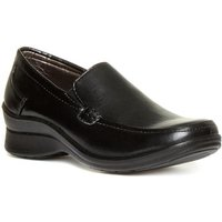 Womens Black Casual Slip On Medium Wedge Shoe