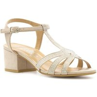 Lilley Womens Nude Open Court Block Heeled Sandal