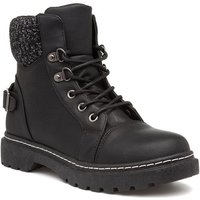 Lilley Womens Black Lace Up Chunky Boots