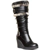 'Lilley Womens Black Faux Fur Wedge