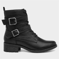 Lilley Womens Black Lace Up Boots