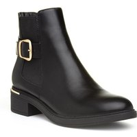 Lilley Womens Black Faux Suede Wedge Ankle Boot
