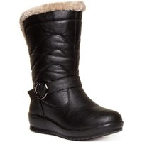 Softlites Womens Black Quilted Pull On Calf Boot