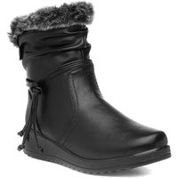 Softlites Womens Black Wedge Faux Fur Ankle Boot