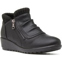Heavenly Feet Womens Black Zip Detail Ankle Boot