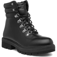 Lilley Womens Black Lace Up Ankle Boots