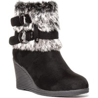 Lilley Womens Black Faux Fur Wedge Boot