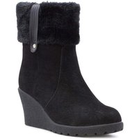 Lilley Womens Faux Suede Wedge Ankle Boot in Black
