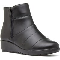 Softlites Womens Black Textured Wedge Ankle Boot