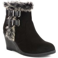 Lilley Womens Black Faux Fur Trim Wedge Ankle Boot