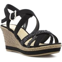 Lilley Womens Black Cross Strap Wedge Sandal
