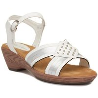 Lilley Womens Beige Strappy Sandal with Ruffles