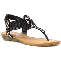 Lilley Womens Black Studded Toe Post Wedge Sandal