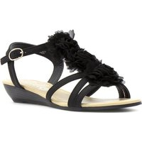 Lilley Womens Black Ruffle Low Wedge Sandal