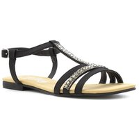 Lilley Womens Black Diamante T-Bar Flat Sandal