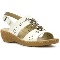 Softlites Womens White Wedge Comfort Sandal
