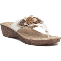 Softlites Womens White Wedge Mule Sandal