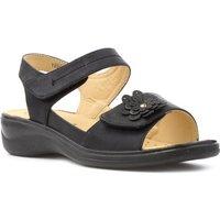 Softlites Womens Black Easy Fasten Comfort Sandal