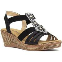 Softlites Womens Black Flower Comfort Sandal