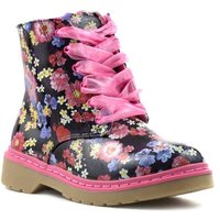Pink Girls Floral Lace Up Ankle Boot
