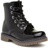 Image of Lilley Girls Black Patent Zip Up Ankle Boot