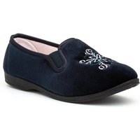Womens Navy Traditional Full Slipper