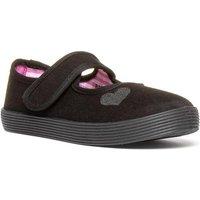 Tick Girls Black Touch Fasten Bar Plimsolls Shoe
