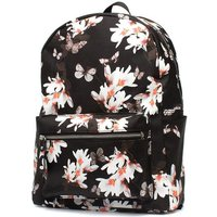 Black And Floral Print Backpack