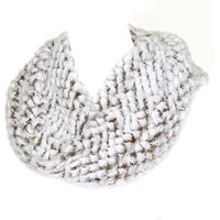 Womens White And Grey Faux Fur Snood Scarf