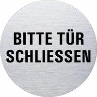 Ofform Edelstahlschild - Bitte Tür schließen