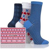 Ladies 3 Pair Burlington Valentines Gift Box Cotton Socks
