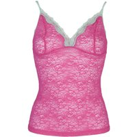 1 Pack Bright Pink Nottingham Lace Strappy Cami Top In 4 Colours Ladies Extra Small - Kinky Knickers