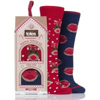 Ladies 2 Pair Totes Original Christmas Novelty Slipper Socks with Grip