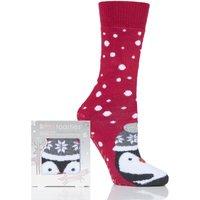 '1 Pair Penguin Original Novelty Slipper Socks With Grip Ladies 4-7 Ladies - Totes