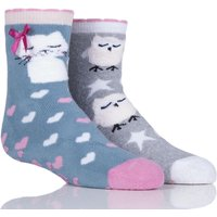 Girls 2 Pair Totes Tots Owl And Pussy Cat Slipper Socks With Grip