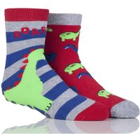 Boys 2 Pair Totes Tots Novelty Dinosaur Slipper Socks With Grip