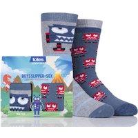Boys 2 Pair Totes Novelty Robots Slipper Socks With Grip