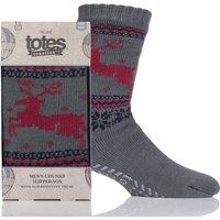 Mens 1 Pair Totes Sherpa Lined Christmas Fairisle Slipper Socks
