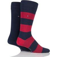 2 Pair Tommy Original Rugby Striped Cotton Socks Men´s 9-11 Mens - Tommy Hilfiger