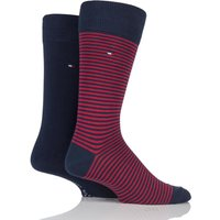2 Pair Tommy Original Small Stripe Cotton Socks Men´s 9-11 Mens - Tommy Hilfiger