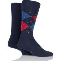 2 Pair Tommy Original Classic Tommy Argyle and Plain Socks Men´s 9-11 Mens - Tommy Hilfiger