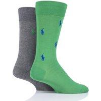 2 Pair Green/Grey Embroidered Horse and Plain Cotton Socks Men´s 9-12 Mens - Ralph Lauren