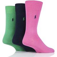3 Pair Green/Navy/Pink Mercerized Cotton Flat Knit Plain Socks Men´s 5-8 Mens - Ralph Lauren