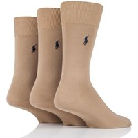 3 Pair Beige Mercerized Cotton Flat Knit Plain Socks Men´s 5-8 Mens - Ralph Lauren