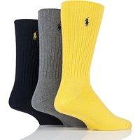 3 Pair Yellow/Grey/Black Classic Cotton Crew Socks Men´s 6-11 Mens - Ralph Lauren