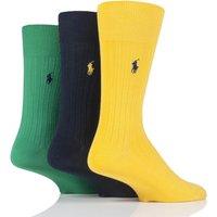 3 Pair Gold/Green Egyptian Cotton Ribbed Plain Socks Men´s 9-12 Mens - Ralph Lauren