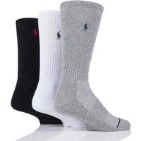 3 Pair Black / White / Grey Classic Sport Crew Socks Men´s 6-8 Mens - Ralph Lauren