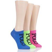 3 Pair Blue High-Cut Liner Socks Ladies One Size - Ralph Lauren