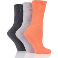 3 Pair Coral Ribbed Sports Crew Socks Ladies One Size - Ralph Lauren