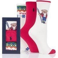 3 Pair Assorted Bear Gift Boxed Cotton Socks Ladies 4-7 Ladies - Ralph Lauren